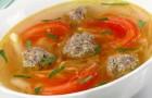 Суп на утином бульоне с фрикадельками в скороварке