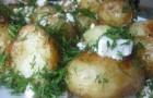 Картофель с фетой и горошком