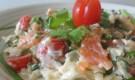 Салат с моцареллой и красной рыбой