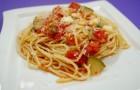 Спагетти с моцареллой и цуккини