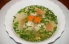 Бульон с фрикадельками и яйцом