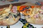 Картофель печеный, фаршированный грибами