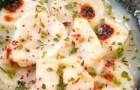Крем-брюле из морских гребешков с мятным соусом бешамель