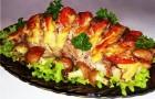 Морской язык с овощами, запеченный в рукаве