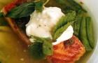 Овощной суп и семга с хрустящей корочкой