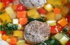 Овощной суп с мясными фрикадельками