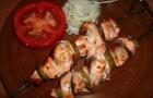 Шашлык из форели в луковом маринаде