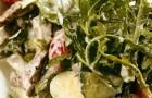 Салат из языка с перепелиными яйцами