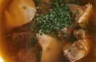 Суп из куриных потрошков с эстрагоном