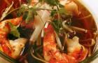 Суп с гречневой лапшой и креветками