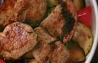 Салат из обжаренной телятины на маринованных овощах гриль