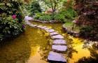 Создание дорожки из камней через пруд