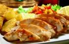 Жареный цыпленок с соусом санто