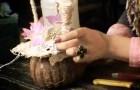 Композиция с орхидеей в половинке кокоса