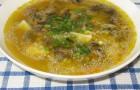 Грибной суп с ячневой крупой