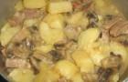 Грибы, тушенные с картофелем в соусе