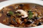Суп мясной с шампиньонами
