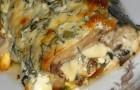 Запеченная в фольге сельдь, фаршированная грибами