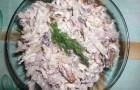 Грибной салат с филе цыпленка и сыром