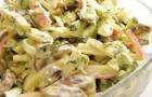Грибной салат с крабовыми палочками