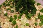 Грибной салат с ветчиной и овощами