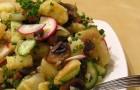 Салат из грибов, картофеля и лука