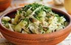 Салат из шампиньонов с белокочанной капустой
