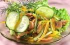 Салат с шампиньонами и свежими огурцами