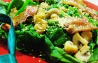 Салат со шпинатом и шампиньонами