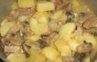 Грибы, тушенные с картофелем в сметане в аэрогриле
