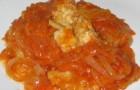 Хек под томатным маринадом в пароварке