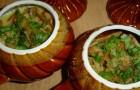 Камбала с овощами в горшочках в аэрогриле