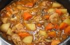 Острый суп из телятины с овощами в скороварке