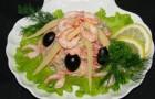 Салат из морепродуктов в пароварке