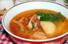 Суп из бараньих ребрышек с виноградным уксусом в скороварке