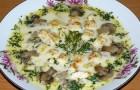 Суп куриный с рыбой и шампиньонами в аэрогриле