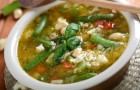 Суп мясной с зеленой фасолью в аэрогриле