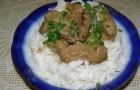 Свинина с рисовым гарниром в аэрогриле