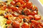 Полента с моцареллой и помидорами черри